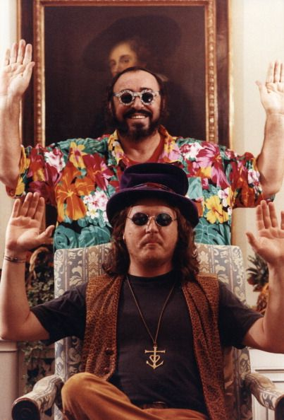 The Italian tenor Luciano Pavarotti posing with the Italian singer Zucchero Fornaciari 1990s