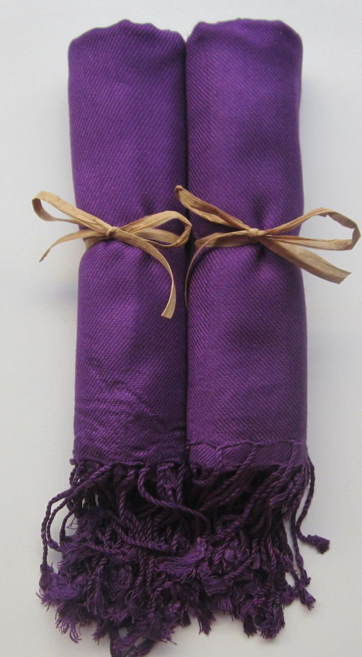 Set of 2 Eggplant Purple Shawls, Pashmina, Scarf, Wedding Favor, Bridal Shower Gift, Bridesmaid Gift, Wraps, Welcome Bags, Wedding Keepsakes. $19.00, via Etsy.