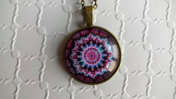 Glass Mandala pendant necklace by SillySquirrelJewelry on Etsy