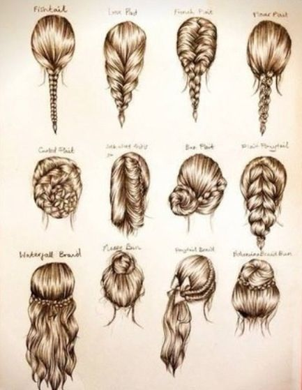Braid Variations fashion hair drawing illustration style inspiration braid type long pictorial guide