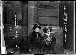Delegation to the Women's Suffrage Legislature Sydney Addams (left) and Miss Elizabeth Burke of the University of Chicago, 1911