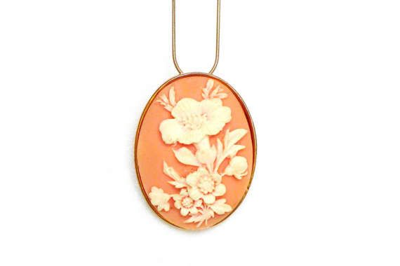 cameo brooch victorian scarf pin gold apricot blossom by LonasART