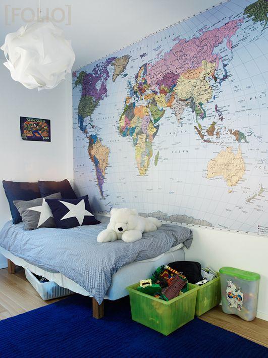 Fotomural de mapa del mundo para las habitaciones de jovenes que quieren conocer mundo.