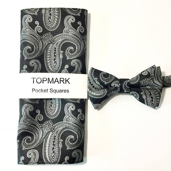Bow Tie and Pocket Square Set black paisley Grooms