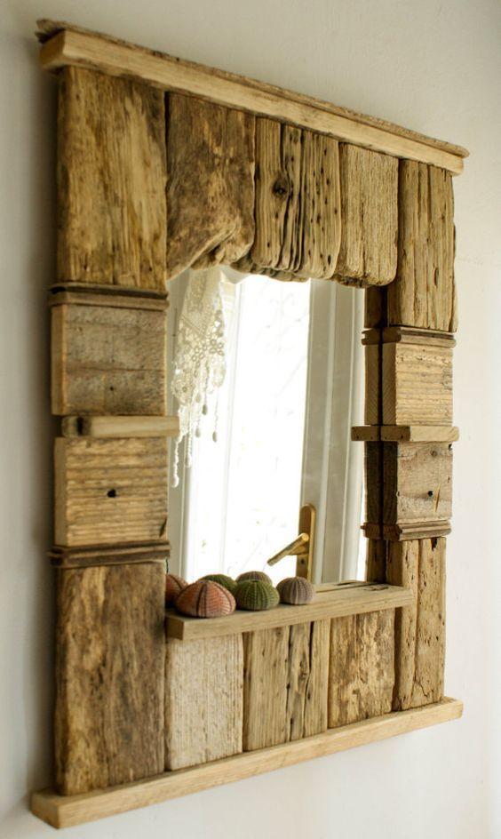 Decorative Mirror, Driftwood Mirror, Beach Cottage Style Mirror, Handmade Mirror, Patchwork Mirror
