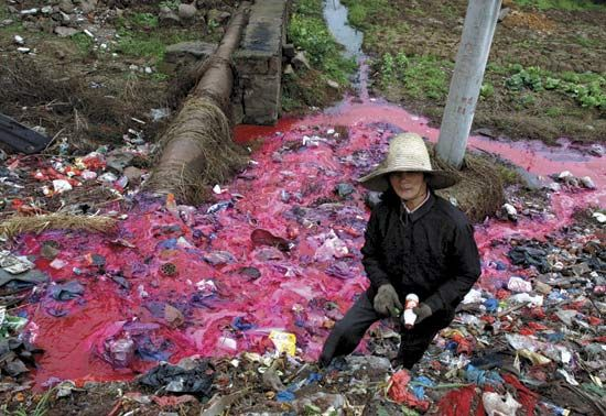Many manufacturing products and sweatshops operate in China, as they have a lower labour cost. This results in a terrible environmental pollution.