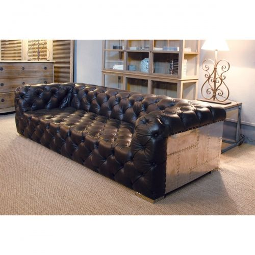 6019A-3D Sofa cuero envejecido oscuro y aluminio (250x105x68)