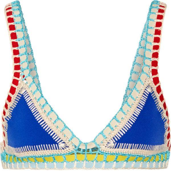 Kiini Kiini - Tuesday Crochet-trimmed Triangle Bikini Top - Bright... ($195) via Polyvore featuring swimwear, bikinis, bikini tops, bikini, swimsuit tops, triangle bikinis, crochet trim bikini, polka dot bikini and crochet bathing suits