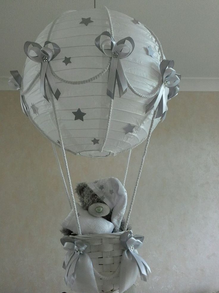 Starry Night Hot Air Balloon Light Shade In Silver Grey