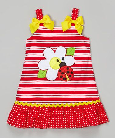 Look what I found on #zulily! Red Ladybug Appliqué Ruffle Dress - Infant, Toddler & Girls by Youngland #zulilyfinds