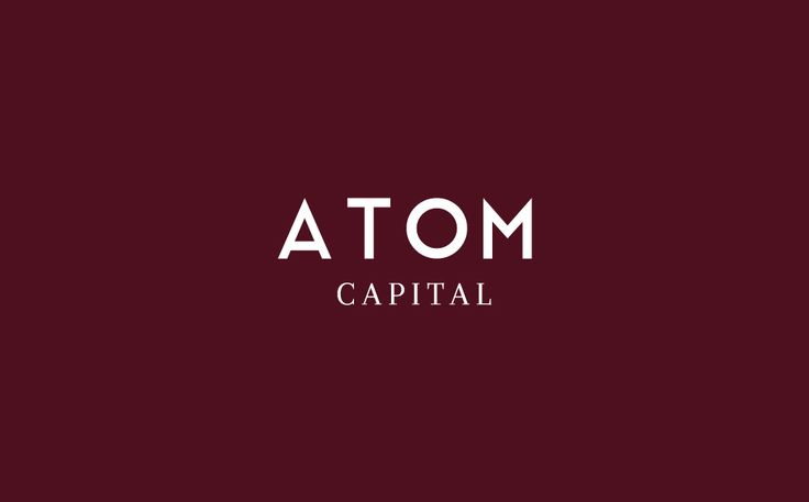 A strong typographic logo for Atom Capital, FCA regulated asset management firm in London /UK. atomcapital.co.uk