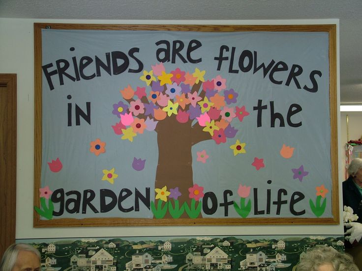 """Friends Are Flowers in the Garden of Life"" is such a sweet title for a spring bulletin board display.  I would have my students write about a special friend inside a flower template and add it to this bulletin board display theme."