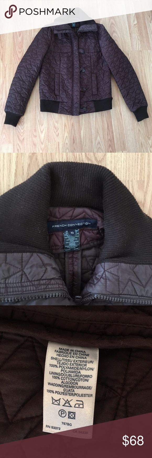 French Connection Quilted Star Bomber Jacket Quilted bomber jacket with star pattern by French Connection. Time to part with this awesome jacket, it's too snug on me. This coat is one of my favorites for its unique style. Quilted with a star pattern, very well made, thick and warm. Dark brown with a purple-ish hue. Size 10, definitely a small 10, I usually wear a small or medium in shirts and it's snug on me. Mint condition!  Features: Ribbed collar, cuffs and hem 2 front side pockets Zip…