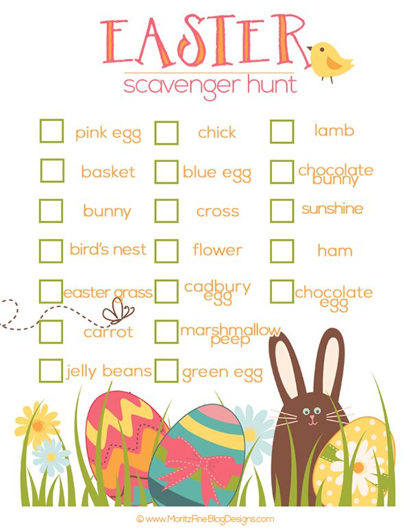 Once the Easter baskets have been torn apart and the egg hunt is over, you can entertain the kids with this free Easter Scavenger Hunt printable.