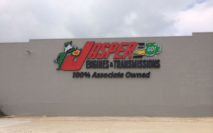 Jasper Engines and Transmissions is located in Jasper Indiana.  Sign Crafters in Evansville, Indiana to learn more about our business signs at (800)742-3655