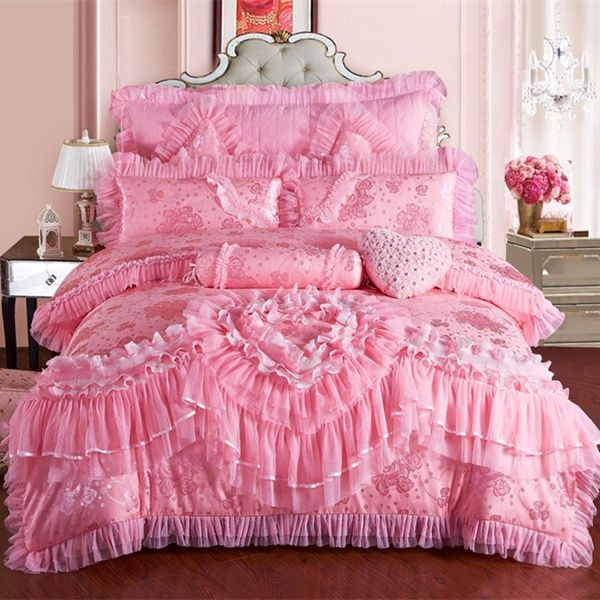 Princess Cotton Lace Luxury Duvet Cover Bedding Set King Queen Twin 4//7pcs UPS