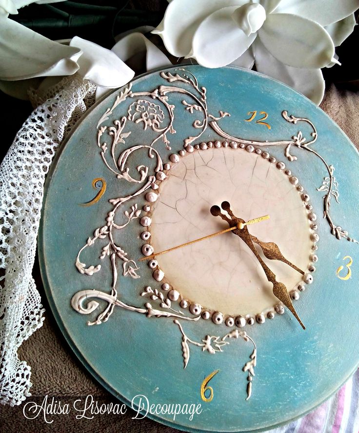 vintage antique shabby chic wall watch by Adisa Lisovac decoupage