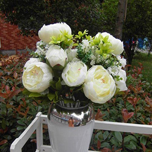 NO:1 Artificial Peony Silk Flowers Bouquet Wedding Party Bouquet Decoration White