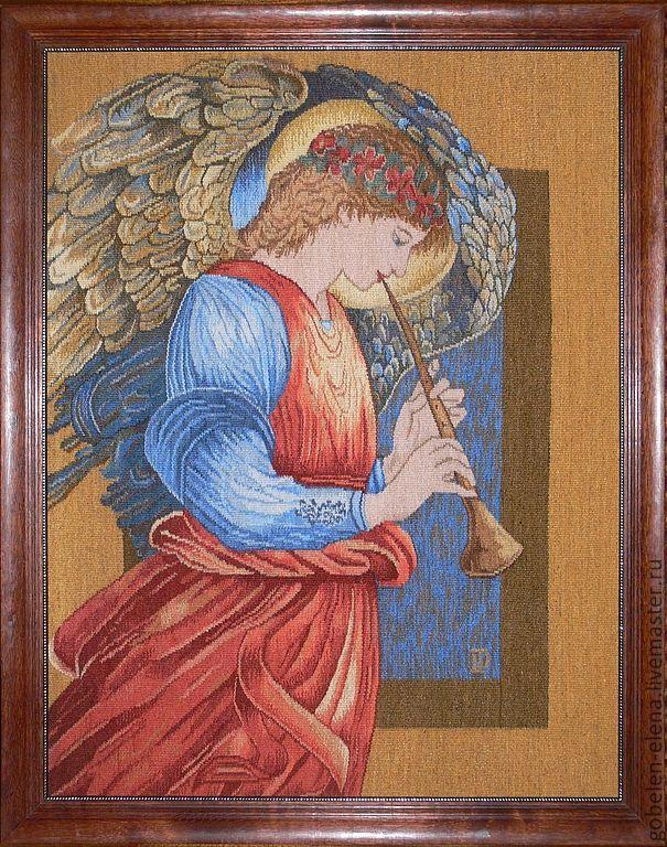 """Гобелен ручной работы """"Ангел"""". Эдвард-Берн Джонс.87х110 см."""