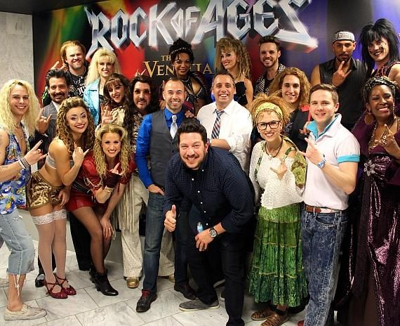 Impractical Jokers Joe Gatto, Sal Vulcano, James Murray with Rock of Ages cast