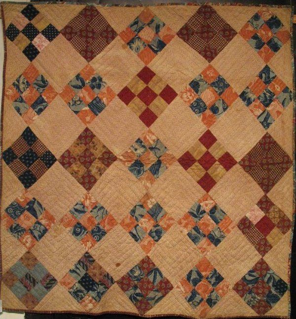 NINE PATCH ON POINT ANTIQUE CRIB QUILT