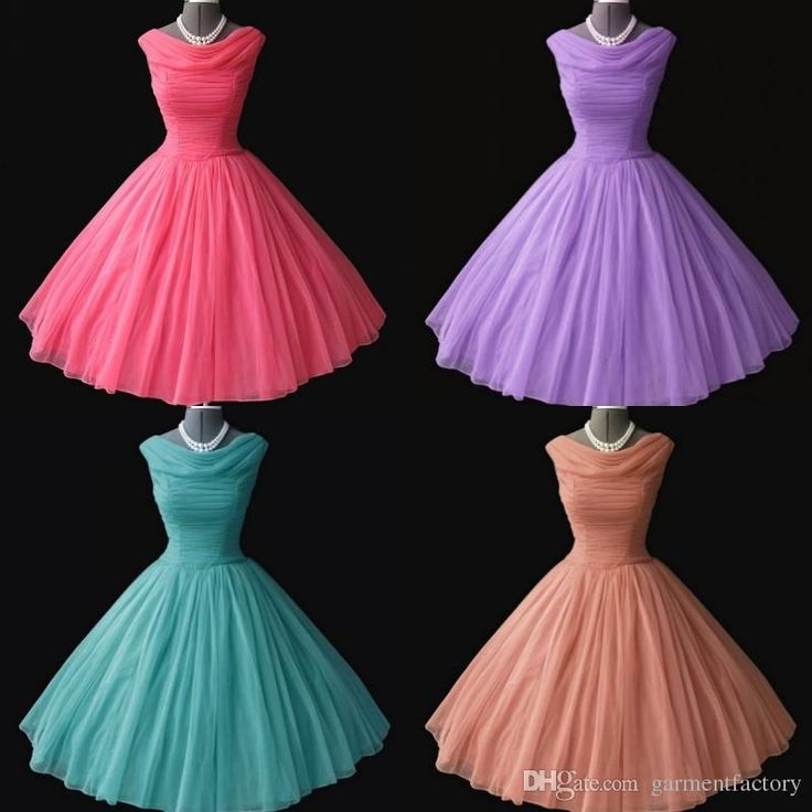 Retro Style Tea Length Prom Dresses Cheap Boat Neckline Ruched Bodice A Line Coral Turquoise Tulle Bridesmaid Dresses Wedding Party Dresses Backless Prom Dresses Beautiful Prom Dresses From Garmentfactory, $83.77  Dhgate.Com