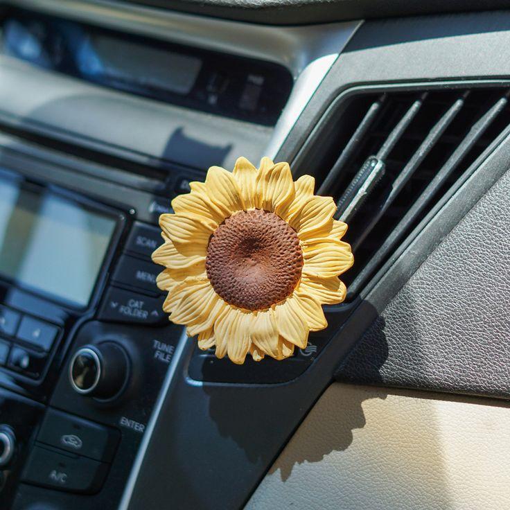 Zonnebloem Auto luchtverfrisser, Geparfumeerde auto-accessoires, Leuke Vent Clip Diffuser, Bloemen cadeau voor vrouwen Meisje Haar bloemenliefhebbers Plantenliefhebbers