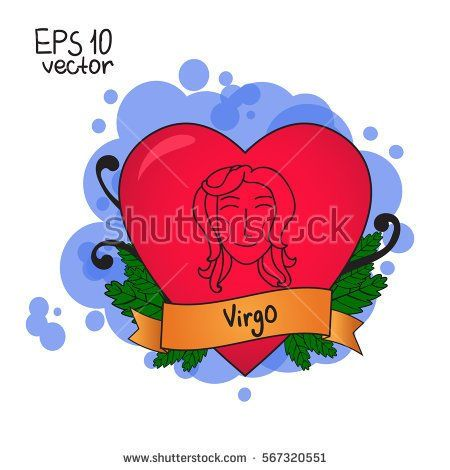 Love horoscope for Valentine's Day. Signs of the zodiac.  Virgo symbol. Vector illustration hand drawing. Old school tattoo.