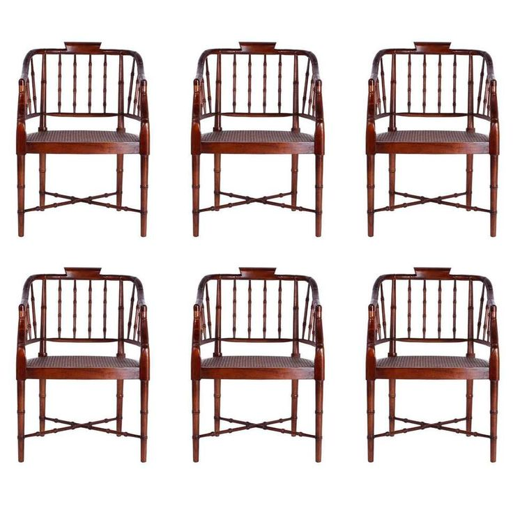 Set of Six British Colonia Style Caned Tub Armchairs 1