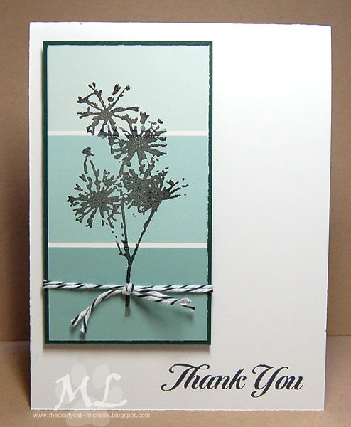 handmade thank yu card: Thanks Bunches ... paint chip panel in aquas ... black…