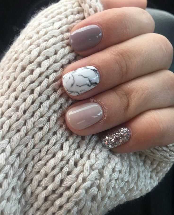 Neutral Nails With Accent Neutral Nails In 2020 Red Gel Nails Marble Nail Designs Gel Nails