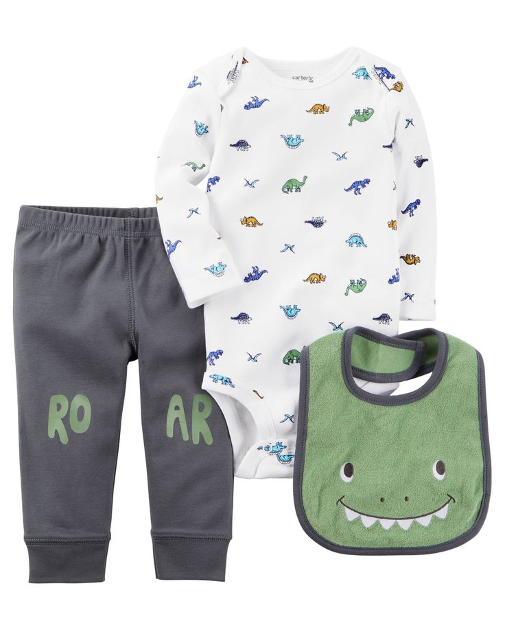 Featuring a cute little monster, this babysoft cotton set features a coordinating bodysuit, bib and essential pants.