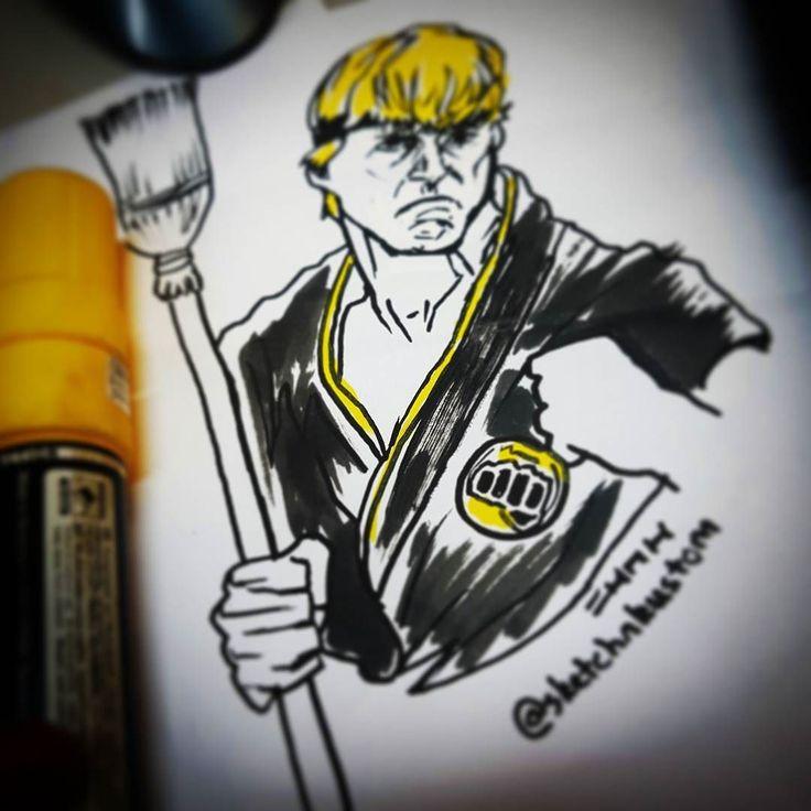 @williamzabka #williamzabka #johnnylawrence #karatekid #johnny #cobrakai #sweep #sweeptheleg #broomstick #sweeping #broom #yellow #black #oldschool #throwback #tbt #flashback #80s #retro #funny #molotowmarker #karate #art #ink #graffiti #artist
