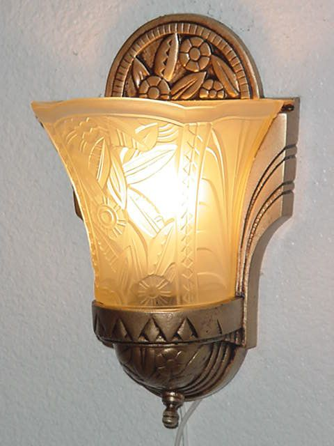 Vintage Art Deco wall sconce from Max Scheffer, New York Vintagelights.com Art Deco Wall Fixtures | vintagelights.com