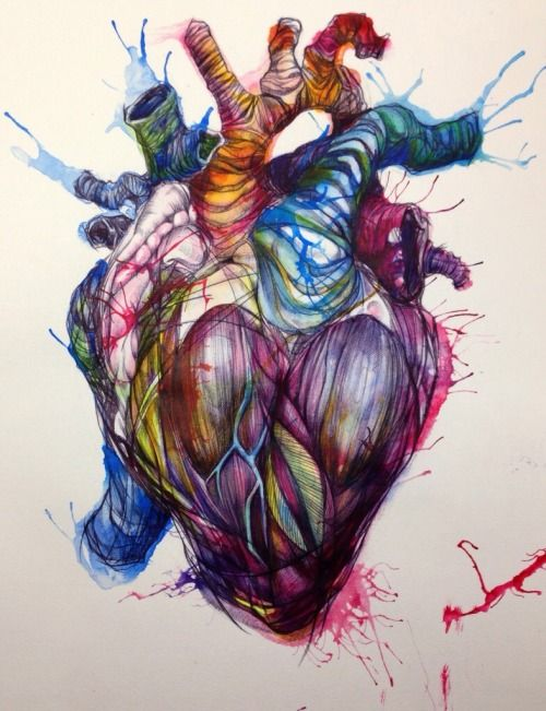 Biro and ink heart by Emily J Hay