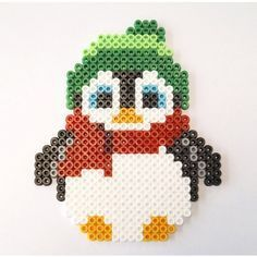 Pingüino, animales, animals,  Penguin hama beads, perler beads, bead sprites, nabbi fuse melty beads