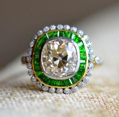 Diamond Demantoid 5.5ct. RETRO Cluster Ring