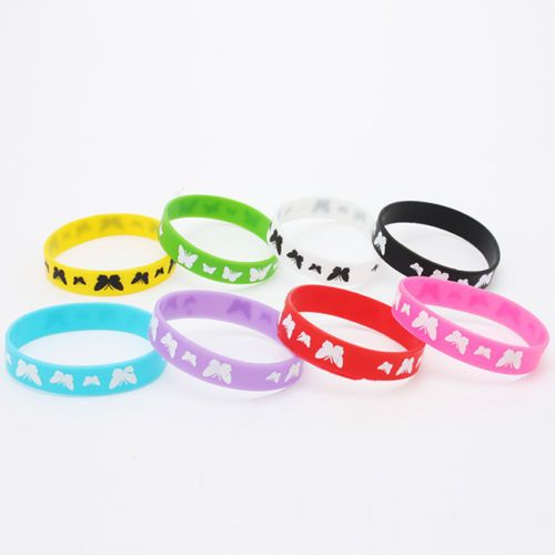 10x Hot Mix Color Butterfly Print Sport Silicone Bracelet Wristband Band Strap J