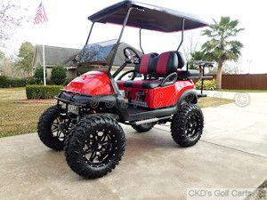 Customized 2011 Club Car Precedent 4-passenger gas golf cart with huge 11-inch lift, by CKDs Golf Carts