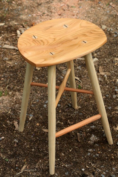 New combo! Hand shaped totnes Cherry bar stool with Walnut wedges, very tasty! £290, made to order. www.ambrosevevers.com