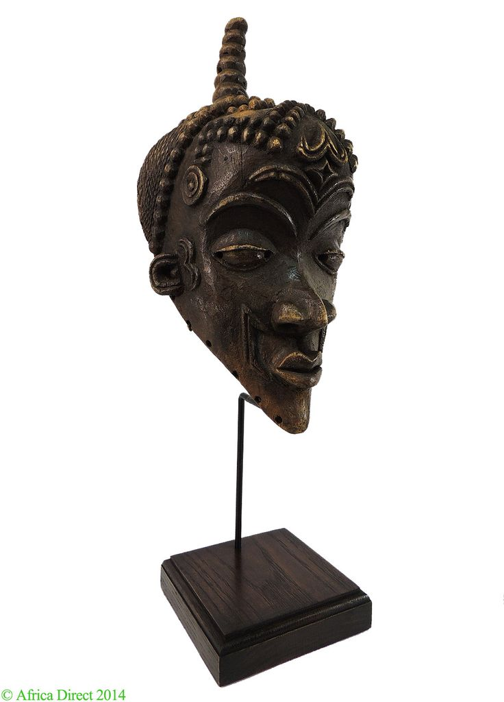 Luluwa Mask with Scarified Face Stand DR Congo African - Kuba - African Masks