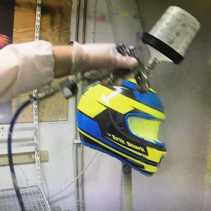 Action shot with Erik Stark new helmet.  Swedish colors neon and flake bling! Clearcoating and recording... #sweden #flake #neon #helmetpaint #iwata #helmetdesign #anestiwata #glasurit #basfrefinishing #hok #360gfx  #360gfx_com @erikstark #klarlack #clearcoating #painting #racing #art #howto #wip #3Mpps #supernova #film #recording #simpson #simpsonhelmet