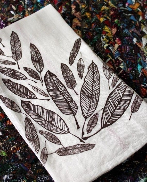 Feather Screen-Printed Dishtowels-set of 2 by MichelleBrusegaard
