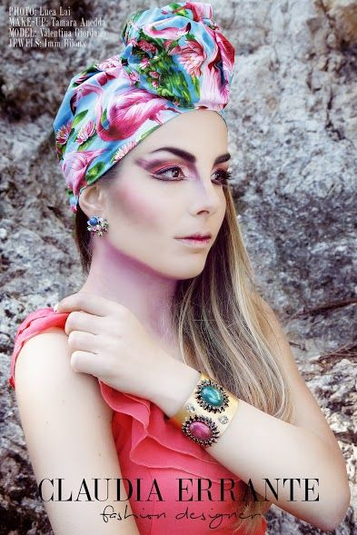 SPRING/SUMMER 2015 ADV CAMPAIGN  Pink Flamingos Fashion Turban: Claudia Errante Photo: Luca Lai Make-Up: Tamara Anedda Jewels: Imm Bijoux Model: Valentina