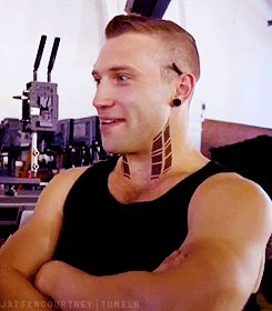Jai Courtney as Eric in Divergent. I didn't think I'd ever be attracted to neck tattoos and extreme piercings