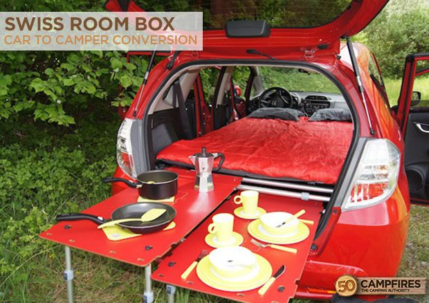 A Car To Camper Conversion With The Swiss Room Box - this thing is awesome! http://50campfires.com/car-camper-conversion-swiss-room-box/ #camping #camper