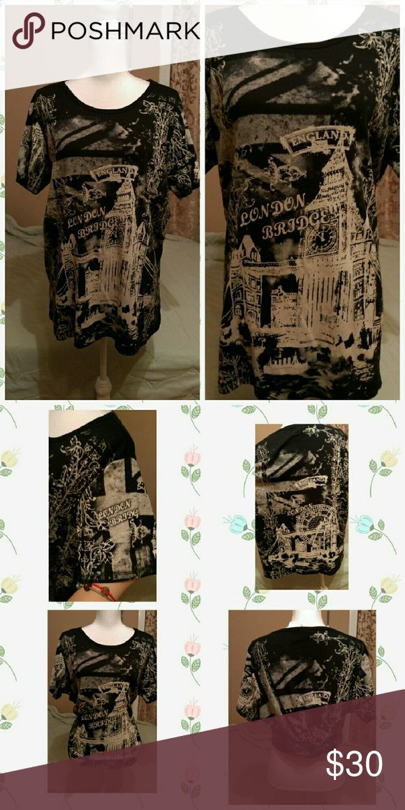 New London England t shirt plus size nwot New with out tag black and tan color two sides plus arms with pictures size 18/20 really cute perfect length and if you like to wear loose big shirts no problem it's so cute you can tie the back and use as crop top Tops Tees - Short Sleeve