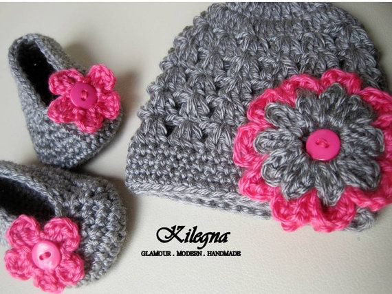 crochet baby flats shoes booties and hat grey / hot by Kilegna, $25.00