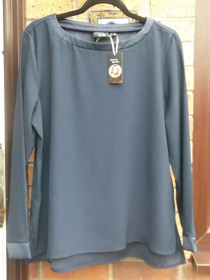 BNWT Ladies Heidi Klum For Esmara Lidl Navy Satin Trim Top Size 16/18 TV