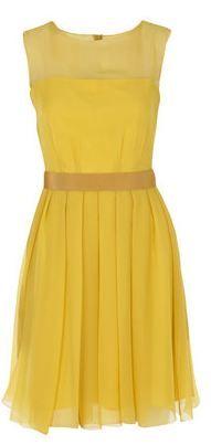 Still Trending: Pleats. Maxmara Yellow Silk Chiffon Sleeveless Dress